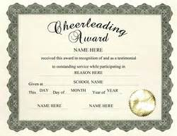 sle award certificates templates cheerleading certificate templates