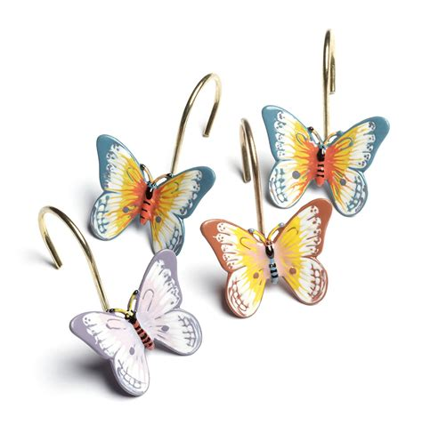 butterfly curtain hooks beautiful butterfly meadow set of 12 shower curtain hooks