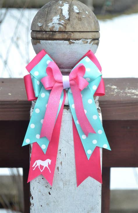 diy equestrian hair bows horse show bows 2 bright pink aqua blue trotting
