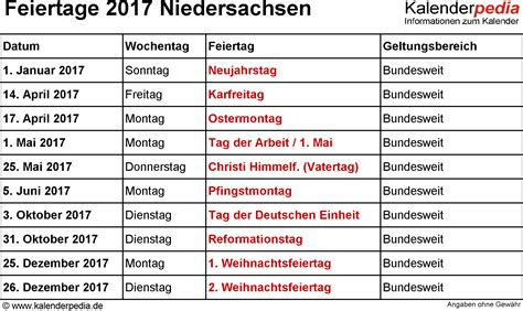 Kalender 2017 Vatertag Feiertage Niedersachsen 2017 2018 2019 Mit Druckvorlagen