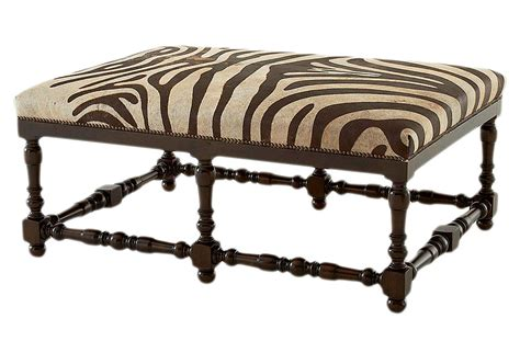 zebra bench ottoman eva leather hide bench zebra bedroom from one kings lane