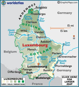 where is luxembourg on the map luxembourg map geography of luxembourg map of