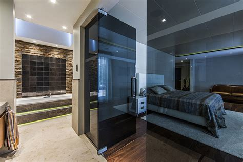 glass bedroom villa in the dunes designed by centric design group