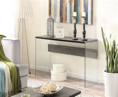 foyer glass table glass and wood grey entryway table stabbedinback foyer