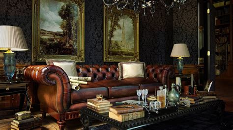 wallpaper classic home luxurious leather sofa in the living room a rich