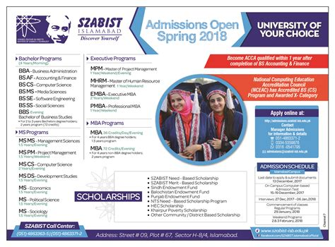 Szabist Mba Admission 2017 by Admission In Shaheed Zulfikar Ali Bhutto Institute Of