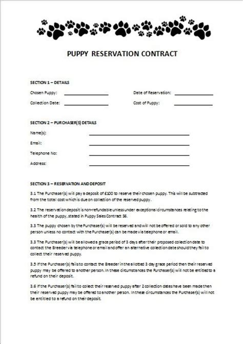 Items Similar To Puppy Reservation Contract On Etsy Pet Sale Contract Template