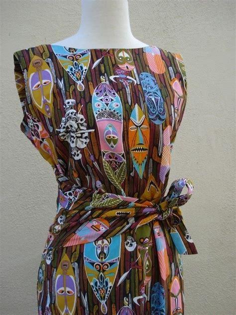 vintage tiki print dress midcentury modern
