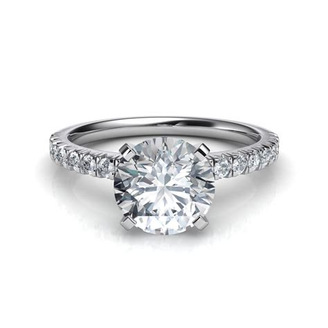 pave engagement rings thin cut pave setting engagement ring