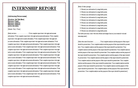 internship report template special reports free reports