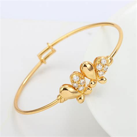 Chil Kid Gold butterfly 18k yellow gold gf crystals baby