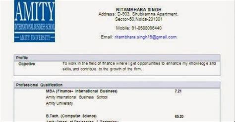 Mba Finance Fresher In Noida by Curriculum Vitae Format