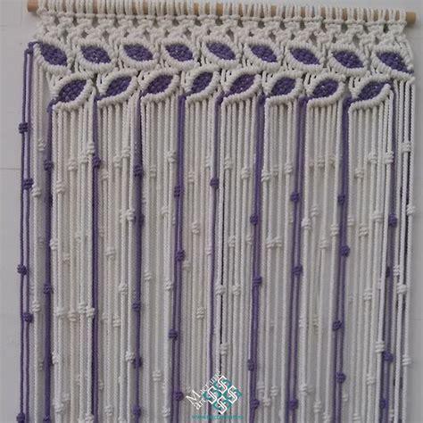macrame cortinas cortina macram 233 modelo hojas color blanco y lila