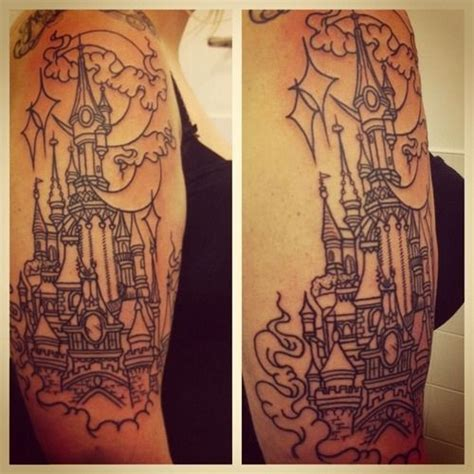 disney tattoo leeds disneyland paris castle done by michael gibson from rude