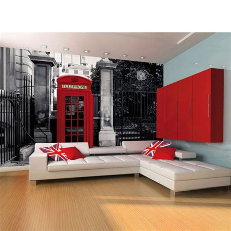 Peppa Pig Wall Mural red british telephone box on a black and white backdrop