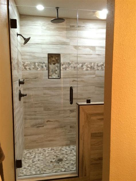 Wood Look Tile Bathroom by 25 Best Ideas About Wood Tile Shower On Rustic Shower Shower Ideas Bathroom Tile