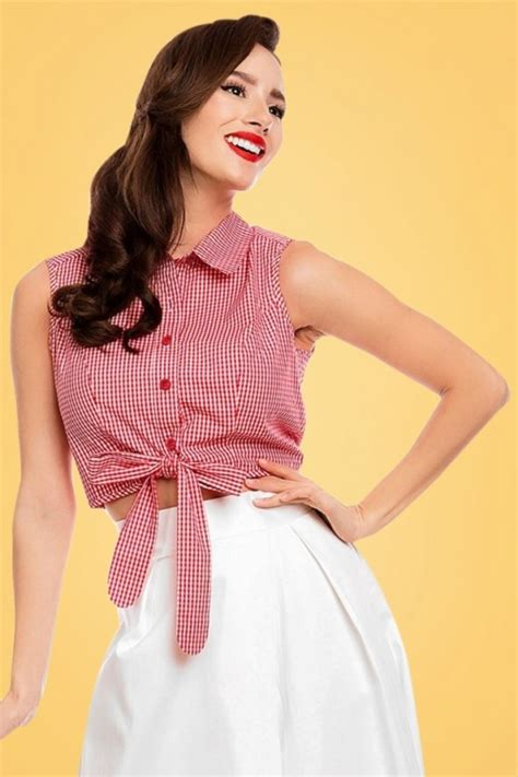 Nasya Blouse White 50 50s clementine gingham top in and white