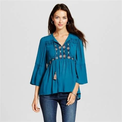 xxl brand peplum top women s embroidered peasant peplum top knox rose teal