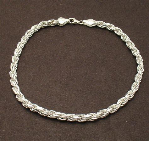 10 sterling silver ankle bracelets 10 quot 5mm bold cut rope anklet ankle bracelet solid
