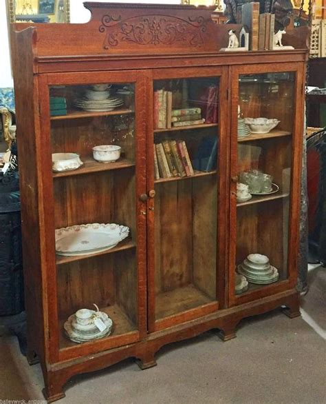 antique oak library cabinet bookshelf bookcase china