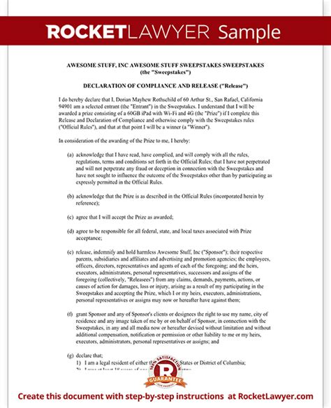 Sweepstakes Form - declaration of compliance and release for sweepstakes rules