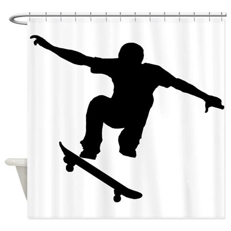 silhouette curtains skateboarder silhouette shower curtain by extremesportsgifts