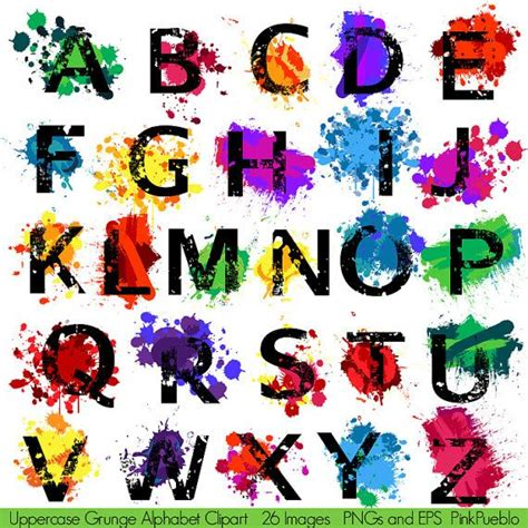 Letter For Painting Grunge Alphabet Font With Graffiti Paint Splatters Letters Clipart Clip Uppercase