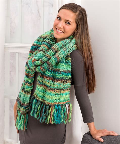 jennifer s scarf free crochet pattern from red heart yarns fringed eyelet scarf red heart