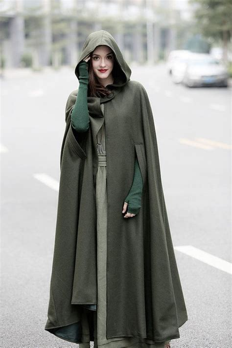 hooded hijab pattern maxi hooded wool coat cloak maxi cashmere cape by