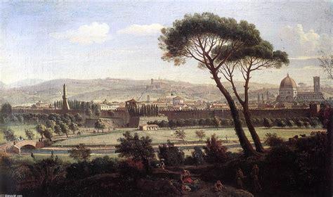 famosi giardini di firenze veduta di firenze da via bolognese olio su tela di gaspar