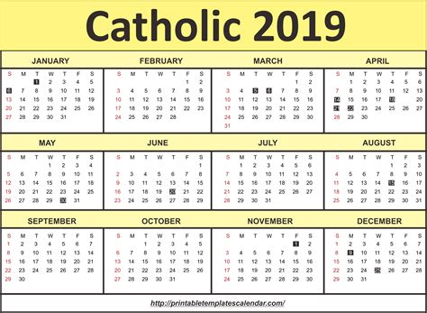Free Editable Printable Catholic Calendar Template 2019 Printable Templates Calendar Free Church Calendar Template