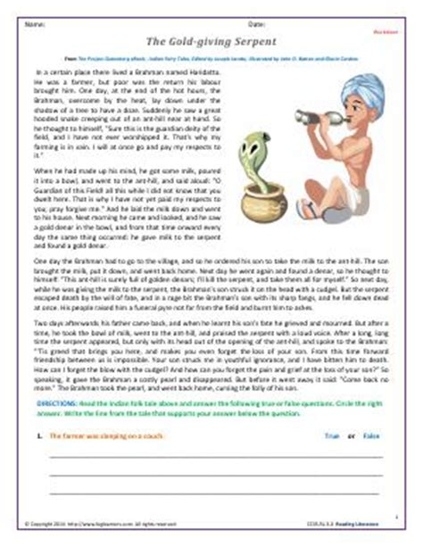 Fables Worksheets For 3rd Grade by Tales Myths Folktales Legends And Fables Third