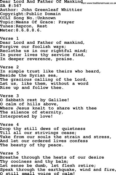 lyrics by mankind salvation army hymnal song dear lord and of