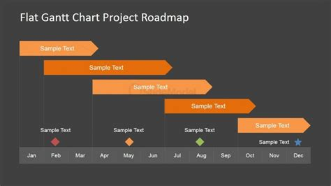 Flat Roadmap Gantt Chart With Milestones Slidemodel Milestone Chart Templates Powerpoint