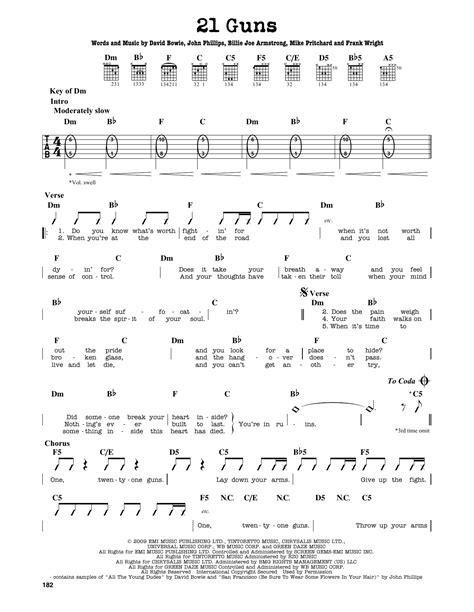 guitar tutorial 21 guns 21 guns sheet music by green day guitar lead sheet 163745
