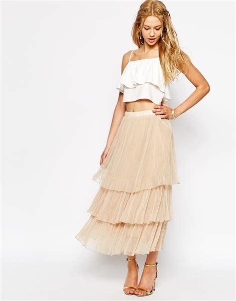 Layered Maxi Skirt boho tulle layered maxi skirt modcout