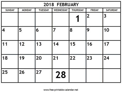printable free february 2018 calendar printable february 2018 calendar download print