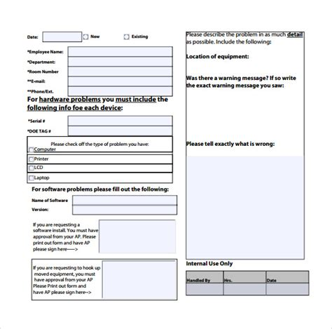 it services template sle computer service request form 12 free