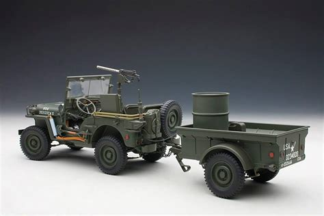 Cool Garages autoart 1 18 model army willys and trailer jeep wrangler