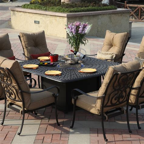 Firepit Patio Set Darlee Santa 9 Cast Aluminum Patio Pit Dining Set Bbq Guys