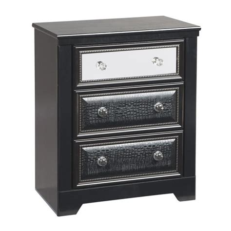 Black Leather Nightstand by Alamadyre 3 Drawer Faux Leather Nightstand In Black