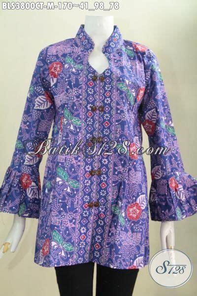 Blus Batik Elegan 263 Cap blus batik kerah shanghai warna elegan motif bunga pakaian batik halus proses cap tulis dengan