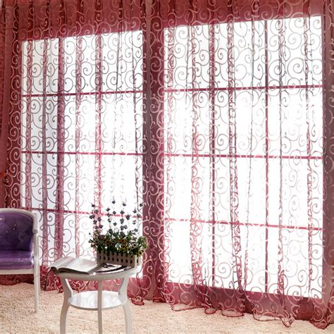 Lightweight Fabric For Curtains Transparent Flower Embroidered Voile Curtain Wedding Light Fabric Valances New Ebay