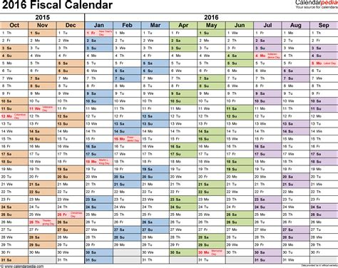 Fiscal Calendars 2016 As Free Printable Pdf Templates Accounting Calendar Template