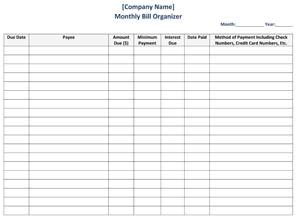 Bill Organizer Small Business Free Forms Free Monthly Bill Planner Template