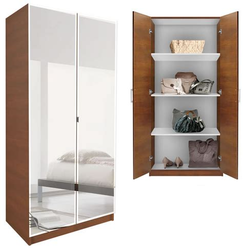 Wardrobe With Mirror And Shelves Alta Wardrobe Cabinet 3 Shelves Doors Contempo