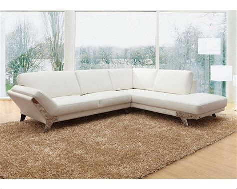 Contemporary Italian Leather Sectional Sofas White Contemporary Sectional Sofa In Italian Leather 44l6078