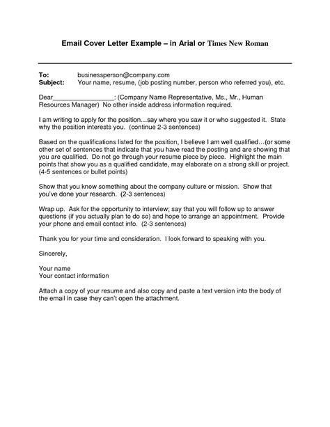 cover letter template email resume format job