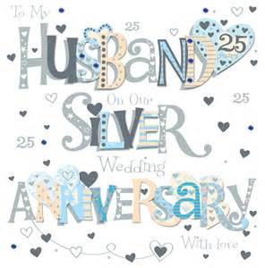 husband silver 25th wedding anniversary greeting card