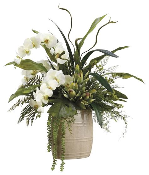 Lifelike White Phalaenopsis Orchids With Staghorn Ferns Lifelike White Phalaenopsis Orchids With Staghorn Ferns
